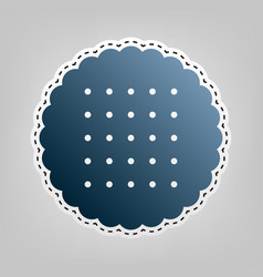Round biscuit sign blue icon with outline vector