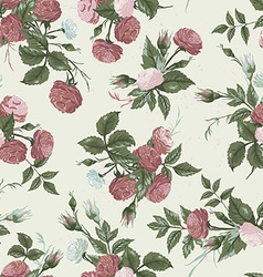 Seamless floral pattern with pink and white roses vector image vector image