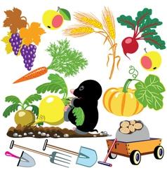 Set autumnal harvest vector