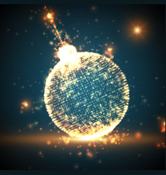 Shining christmas ball on the blue vector