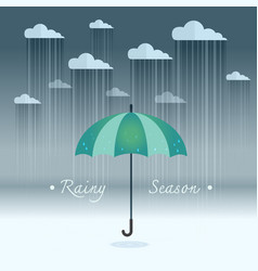 umbrella with heavy fall rain in the dark sky vector image