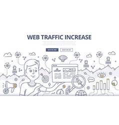 Web traffic doodle concept vector