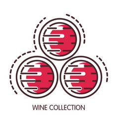 wine collection conserved in wooden barrels vector image vector image