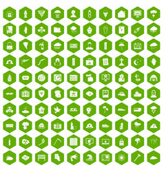 100 natural disasters icons hexagon green vector