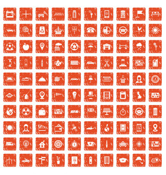 100 taxi icons set grunge orange vector