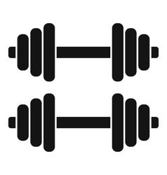 Two dumbbells icon simple style vector
