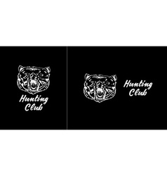 Logo symbol sign stencil bear headunique technique vector