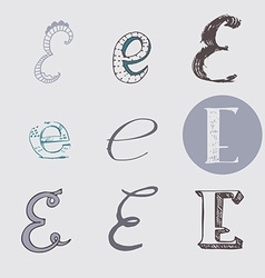 Original letters e set isolated on light gray vector