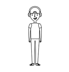 Young man avatar character with headphone audio vector