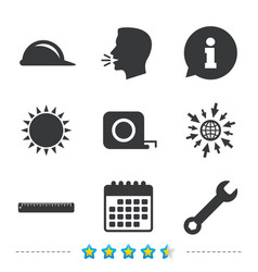construction helmet and ruler roulette icons vector image