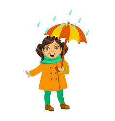 Girl in yellow coat and scarf kid in autumn vector