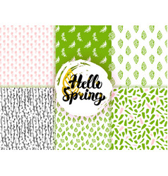 Spring trendy seamless patterns vector