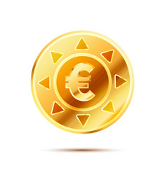 Bright glossy golden coin with euro sign on white vector