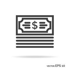 Bundle money outline icon black color vector