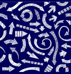 Dark blue hand drawn arrows vector