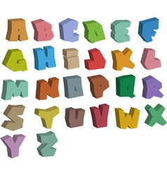 3d graffiti color fonts alphabet over white vector