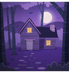 Cabin in woods vector