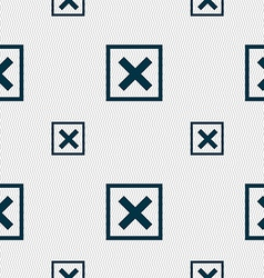 Cancel icon sign seamless pattern with geometric vector