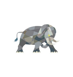 Elephant attacking side low polygon vector