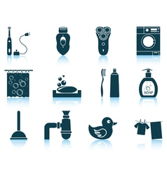 Set of bathroom icons vector