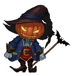 Halloween jack-o-lantern in a hat and costume vector