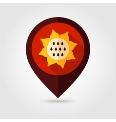 Sunflower flat mapping pin icon vector