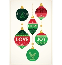 Christmas greeting card with knitted balls vector