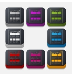 Square button interface vector