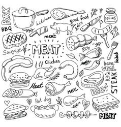 Meat elements set vector