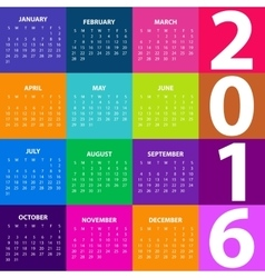 Calendar for the year 2016 vector