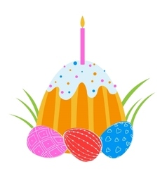Easter eggs and cake with candles vector