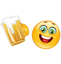 Emoticon with beer vector