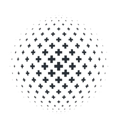 Abstract 3d sphere with crosses vector