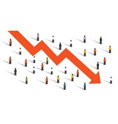 Arrow down crisis economy people crowd around vector