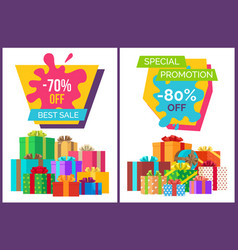 Best sale promotional poster with present boxes vector