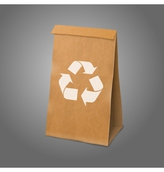 Blank craft realistic paper packaging bag with vector image vector image