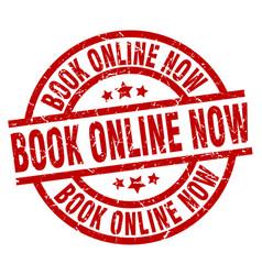 Book online now round red grunge stamp vector