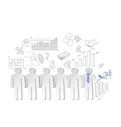Business charts teamwork and team outsider vector image vector image