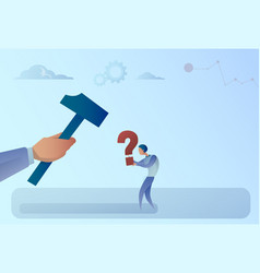 Business man hand hitting question mark with vector