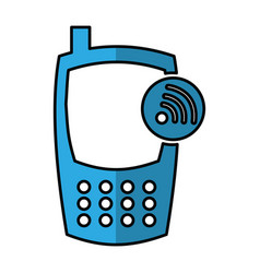 Cellphone with wifi signal device isolated icon vector