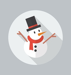 Christmas Flat Icon Snowman vector image vector image