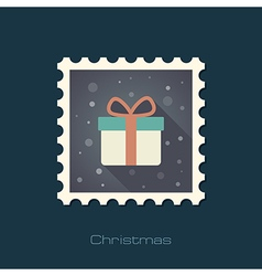 Christmas gift with red ribbon and bow stamp vector