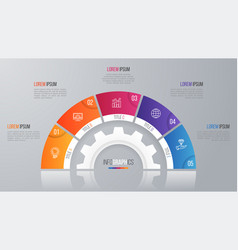 circle chart template for infographics with vector image