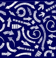 Dark blue hand drawn arrows vector image