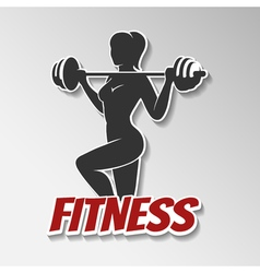 Fitness girl with barbell vector