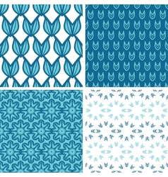 Four abstract blue tulip shapes seamless patterns vector image