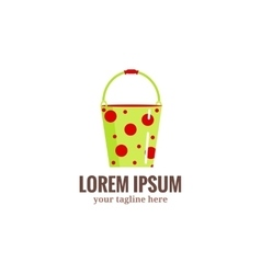 Garden tools logogreen garden bucket in red dots vector