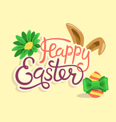 Happy easter lettering with rabbit egg and flower vector