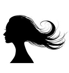 Head profile of a beautiful woman with flying hair vector