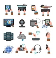 It Devices Icons Flat vector image vector image